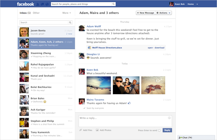 Nuovo layout Facebook Messagges